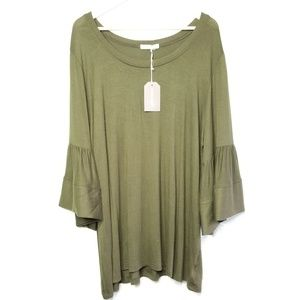 Pebble & Stone Anthropologie Green Top 2X NWT